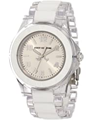 Juicy Couture Womens 1900866 Rich Girl Clear Plastic Bracelet With White Silicone Inlay Watch