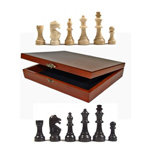 WE Games Staunton Tournament Chess Pieces in Wooden Box, Weighted Black Stained Pieces with 3.75 inch King by WE Games