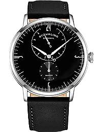 Stührling - Reloj de pulsera para hombre, correa de piel, minimalista, analógico, con vidrio abovedado, 24 horas de subesfera, para hombre, Negro/Blanco