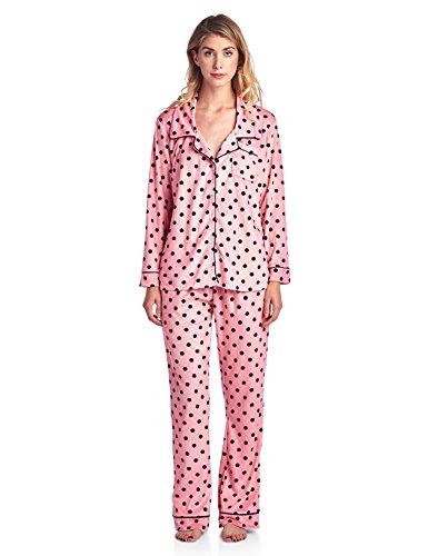 - Ashford & Brooks Women's Long Sleeve Minky Micro Fleece Pajama Set- Pink Black Dot- Large