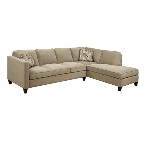 Emerald Home Focus Granite Sectional, with Pillows, Easy Clean Microfiber Upholstery, Nailhead Trim, And Straight Arms (Microfiber Sofas Nailhead With Trim)