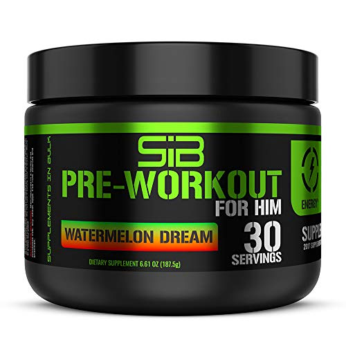 SIB Pre Workout Powder for Men, Nitric Oxide Pre Workout to Boost Energy & Focus, 30 Servings, Watermelon