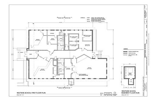 historic pictoric Blueprint Diagram First Floor Plan - Westside School, Corner of Washington Avenue and D Street, Las Vegas, Clark County, NV 36in x 24in