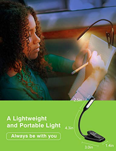 LED Reading Light, TopElek Rechargeable Book Light, 3-Level Brightness (Cool and Warm) and Flexible Easy Clip On Reading Lamp, Eye Protection Brightness, Soft Table Light for Night Reading, Kindle by TOPELEK (Image #5)