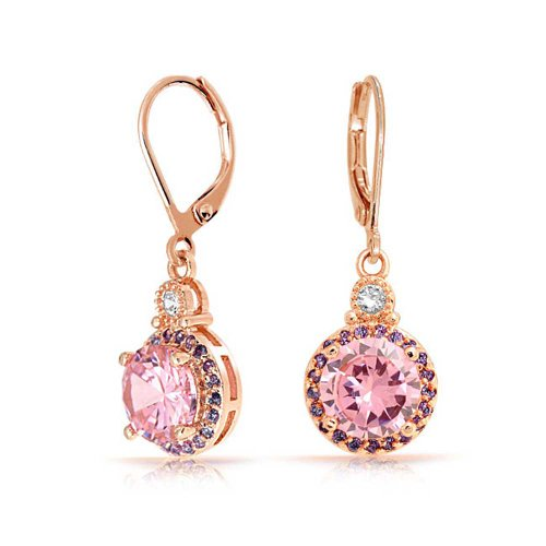 3.5CT Round Cubic Zirconia Solitaire Pink CZ Drop Dangle Leverback Earrings For Women Rose Gold Plated Brass ()