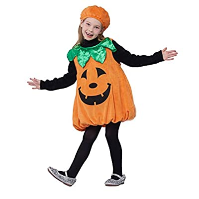 Girls Pumpkin Costume, Lantern Faces Fancy Dress up for Halloween Party (3-4T): Clothing