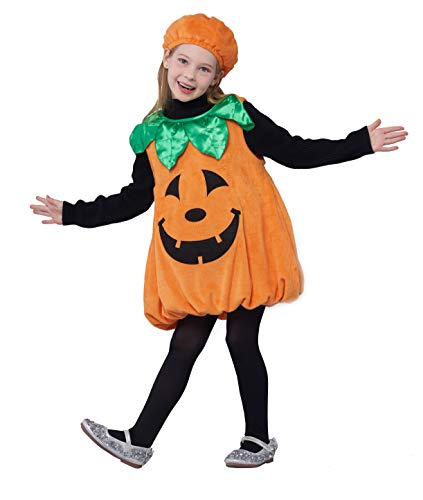 Girls Pumpkin Costume, Lantern Faces Fancy Dress up for Halloween & Carnival Party -