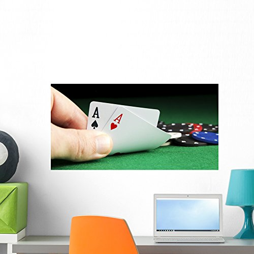 (Wallmonkeys Poker Aces Pair Wall Mural Peel and Stick Graphic (24 in W x 16 in H) WM366503 )