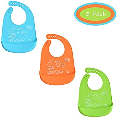 THREE Waterproof Soft Silicone Baby Bibs Feeding with Food Catcher Pocket Cute