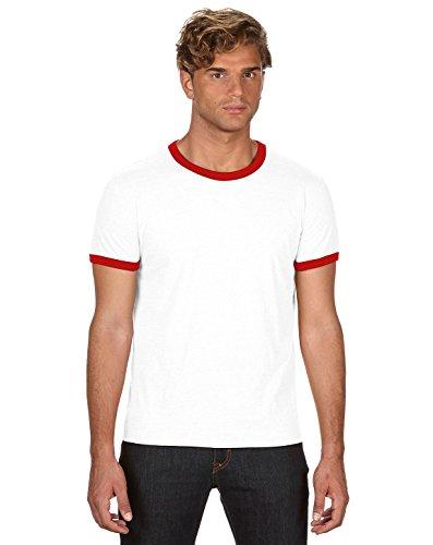 Anvil Lightweight Ringer T-Shirt, Small, White Red