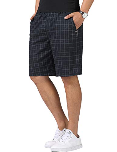 Men's Pure Cotton Plaids Elastic Waist Zip Pockets Cargo Shorts (Blue, L)