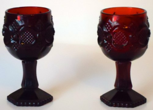 Avon Cape Cod Ruby Goblets Set of 2 Water Goblets