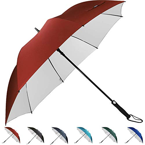 G4Free Sun Protection 62 Inch Automatic Open Golf Umbrella UV Protection Large Oversize Windproof Waterproof Stick Umbrellas(Red)