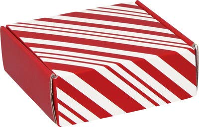 (Christmas Cookie Boxes/Christmas Mailing Boxes - Small Square Boxes for Treats, Favors, Gifts - Classic Peppermint Stripe)