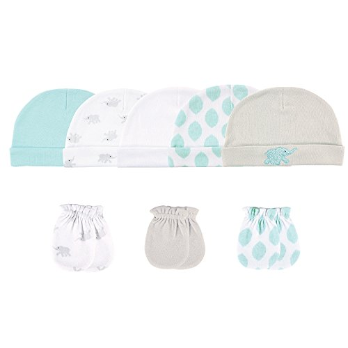 Luvable Friends Baby 8 Pack Newborn Socks, Teal/Gray Elephant, 8-Piece Set, 0-6 Months ()