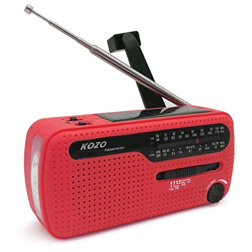 (Best NOAA Weather Radio for Emergency by Kozo. Multiple Ways to Charge, Self Powered by Dynamo Hand Crank & Solar Panel, Long Antenna to Pick Up Reception Everywhere (Red))