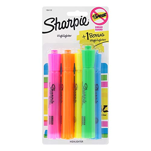 Sharpie Tank Highlighters, Chisel Tip, Assorted Colors, 4-Count + 1 Bonus ()