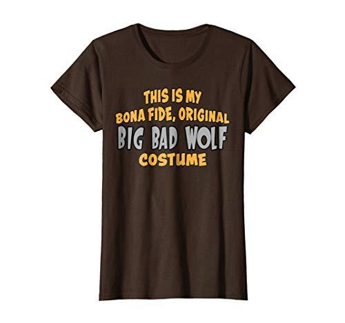 Womens Bona Fide Original Big Bad Wolf Costume Halloween T-Shirt Large Brown
