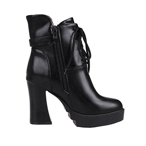 Boots Black Round Soft Womens Low AmoonyFashion Top Heels Toe Leather Solid High Closed OHxfx47Pwq