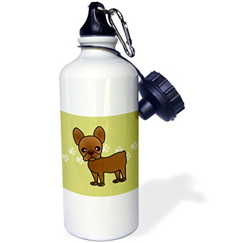 3dRose wb_25347_1 Cute Chocolate Brown French Bulldog Green with Pawprints Sports Water Bottle, 21 oz, ()