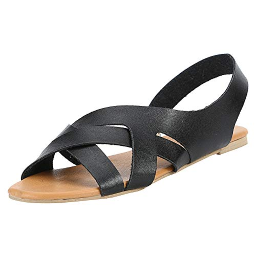 (Haalife◕‿¿Slingback Sandals for Women's Flat Leather Summer Slip On Sandals Casual Peep Toe Flat Shoes Black)