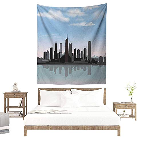 Marilds Chicago Skyline Wall Tapestry Day Time Illinois Missisippi River Clouds Coastal Town Urban Design Home Decorations for Bedroom Dorm Decor 60W x 80L INCH Onyx Blue Grey