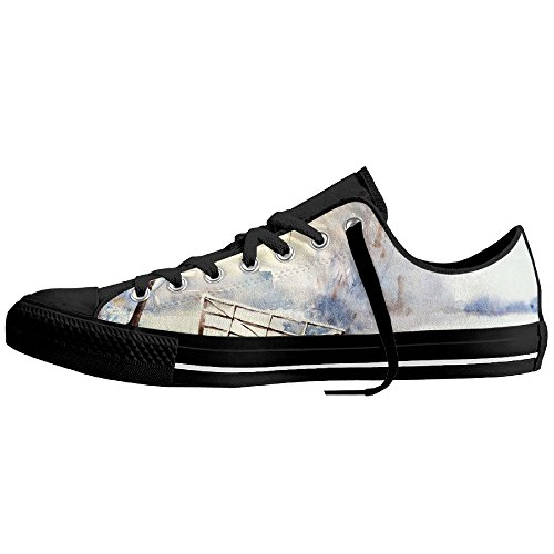 You Tube Christmas Shoes (Scenery Painting Watercolor Low-Cut Canvas Shoes Unisex Sneaker-All Season Casual Trainers For Men And Women ColourName Sizekey)