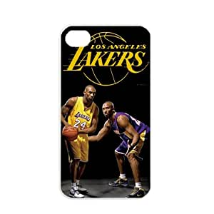 NBA Los Angeles Lakers Kobe Bryant Apple iPhone 4 4S TPU Soft Black or White cases for basketball Lakers fans (White)