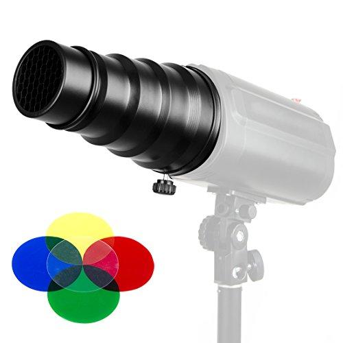 20CM Conical Snoot Honeycomb Grid Light Beam Tube for Bowens Mount Studio Strobe Monolight Photography Flash Light by Konseen