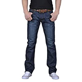 Dacawin Men's Casual Jeans Pants Autumn Washed Denim Jeans Skinny Work Trousers