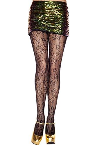 (MUSIC LEGS Women's Floral Bloom Design Lace Spandex Pantyhose, Black, One Size)