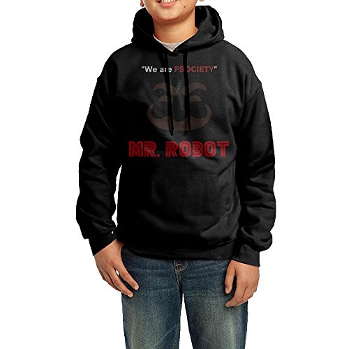 YHTY Youth Boys/Girls Hoodies We Are FSociety Mr. Robot Black Size L