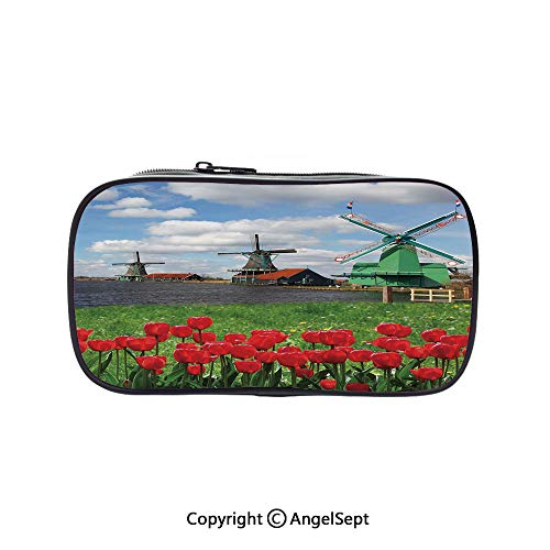 Big Capacity Pencil Case 1L Storage,Traditional Dutch Windmills with Red Tulips in Amsterdam Scenic Field River Decorative Multicolor 5.1inches,Desk Pen Pencil Marker Stationery Organizer with -