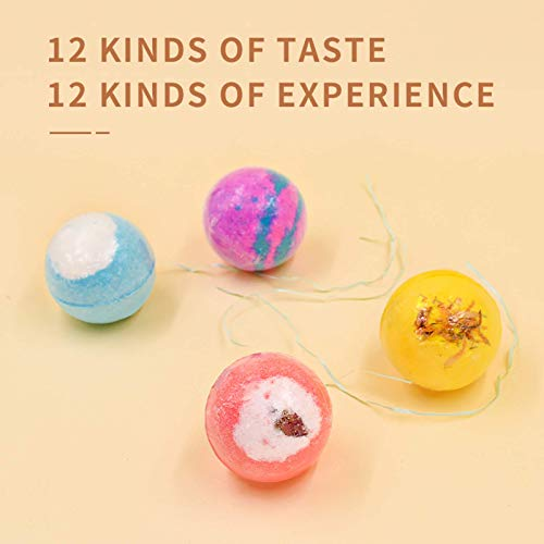Bath Bombs 12 Pcs Gift Set - Deep Bath Salt Moisten Skin Smooth and Delicate Handmade Bath Gift Set Idea Birthday Gift Bubble Bath Bombs Apply to for Men Women Child Friends