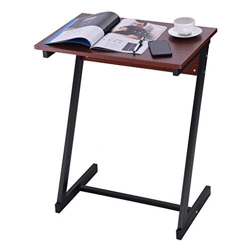 End Table with Storage, Coffee Table for Small Place Z Type Laptop Desk Sofa TV Stand Sofa Side Table Snack Tray Home/Office Bedside Laptop Table Living Room lkoezi (60x40x75cm, Wine)