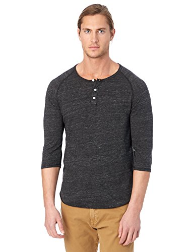 Alternative Men's Raglan 3/4 Sleeve Henley Shirt, Eco Black, Large