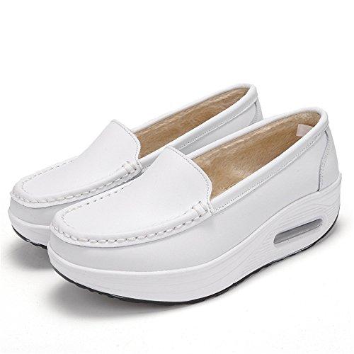IINFINE Winter Nurse Shoes Cotton Shoes White air Cushion Heel Plus Velvet Slip Work Shoes Shake Shoes -(White 34/3.5B(M)USWomen)