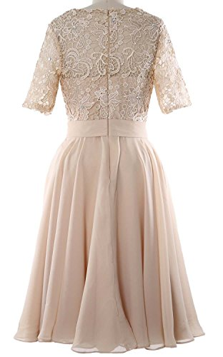 MACloth Women Half Sleeve Lace Formal Gown O Neck Midi Mother of the Bride Dress Royal Blue CUGOCXwM