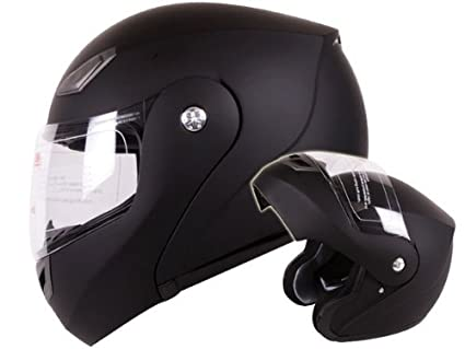 amazon com modular flip up motorcycle helmet matte flat black dot