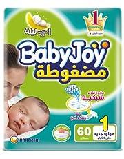 حفاضات سترتش حديثي الولادة بدون تكتل من بيبي جوي - 60 قطعة
