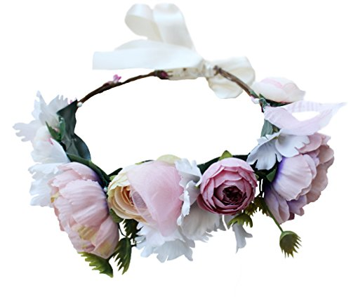 r Headband Women Floral Crown Hair Wreath Flower Headpiece Halo with Ribbon Wedding Party Festival Photos Purple ()