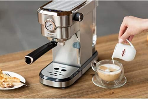MPM MKW-08M Cafetera Express 20 Bares, para Café Espresso, Cappuccino y Latte, Vaporizador para Espumar Leche, Calienta…