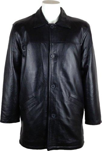 UNICORN Männer Klassisch Mantel Echte Leder Jacke Schwarz #AF