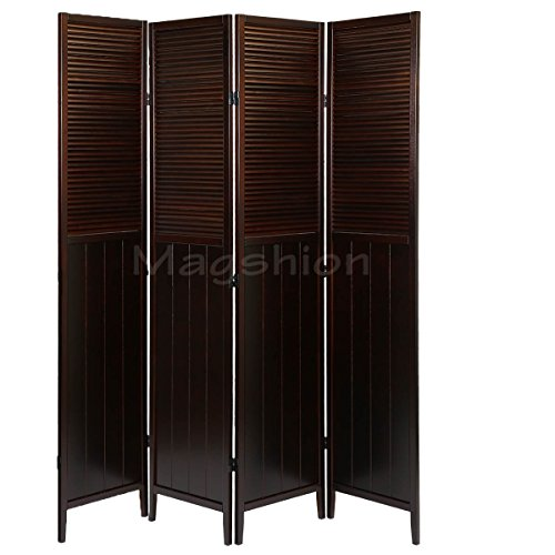 Magshion Oriental Room Divider Hardwood Shoji Screen (Blinds-esp, 4-panel) ()