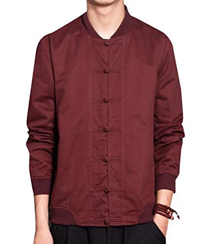 Jacket Red Wine Style Mens Stylish Chinese Oversized Button Mogogo Frog Top 0ZPqO7Pv