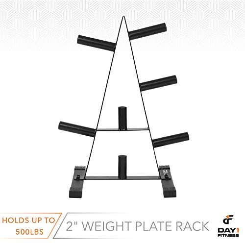 "Olympic Weight Plate Rack, Holds up to 500lb of 2"" Weights by D1F - Black Weight Holder Tree with 7 Branches for Stacking and Storing High Capacity Weights- Heavy-Duty, Durable Triangle Plate Racks by Day 1 Fitness (Image #4)"