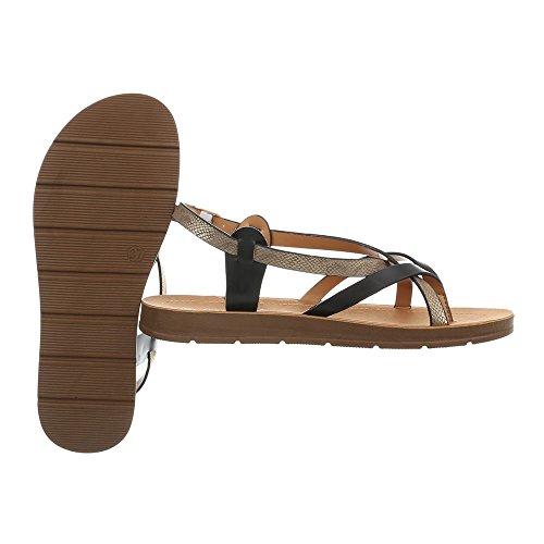 Ital-Design Women's Sandals Flat Thong Sandals at Black Multi 3703 l27up