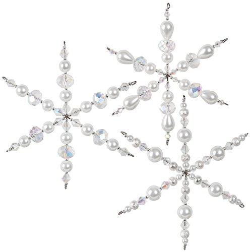 Crystal Holiday Ornament - Solid Oak SNOWFL Holiday Beaded Ornament Kit, Sparkling Snowflakes Makes