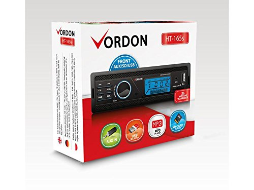 vordon HT-1/165s Autoradio con ingresso AUX//USB//SD Nero