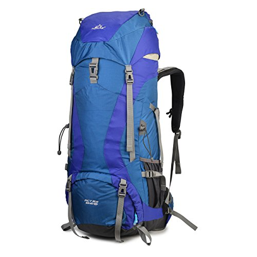 ef5abb3b98 Tofine External-Frame-Backpacks Rain Cover Waterproof Nylon 55L+10L Hiking  Camping Mountaineering Bag (Blue